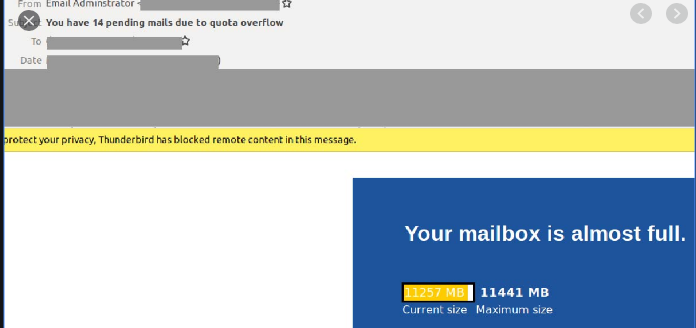 Your mailbox is full scam email